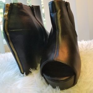 Wedge peep toe booties